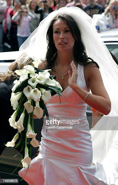 Bride Emma Hadfield arrives at Manchester Cathedral for her wedding to footballer Gary Neville on June 16 2007 in Manchester England