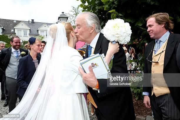 Bride Franziska princess zu SaynWittgensteinBerleburg born Balzer and her father in law OttoLudwig zu SaynWittgensteinBerleburg during the wedding of...