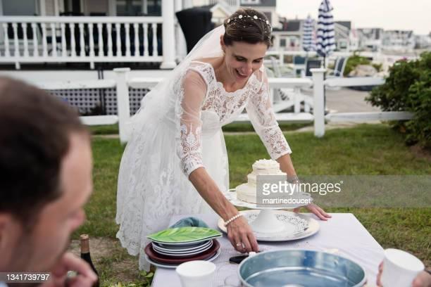 """花嫁は小さな結婚式のお祝いでケーキを出す。 - """"martine doucet"""" or martinedoucet ストックフォトと画像"""