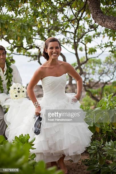 A bride glows on her beach wedding day