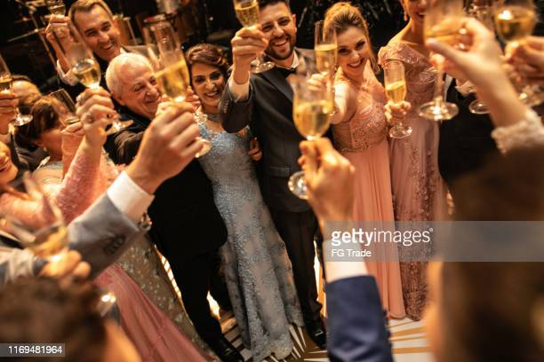bride, groom and wedding guests making a toast - wedding guest stock pictures, royalty-free photos & images