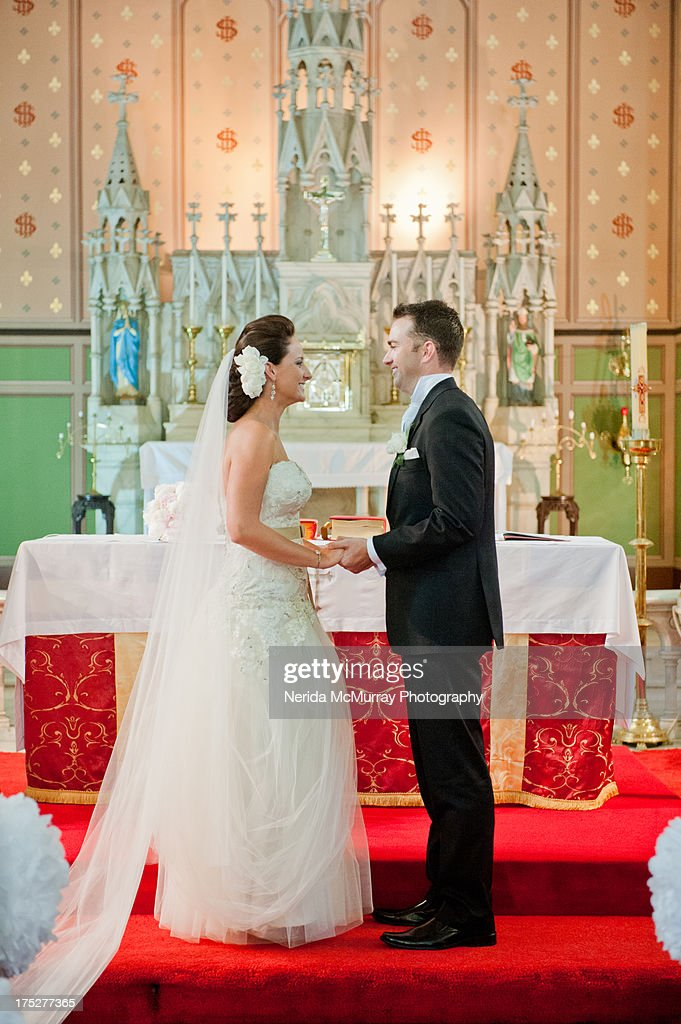 Bride & Groom at church : Stock Photo