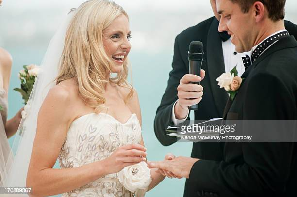 bride & groom ring exchange - wedding vows stock pictures, royalty-free photos & images
