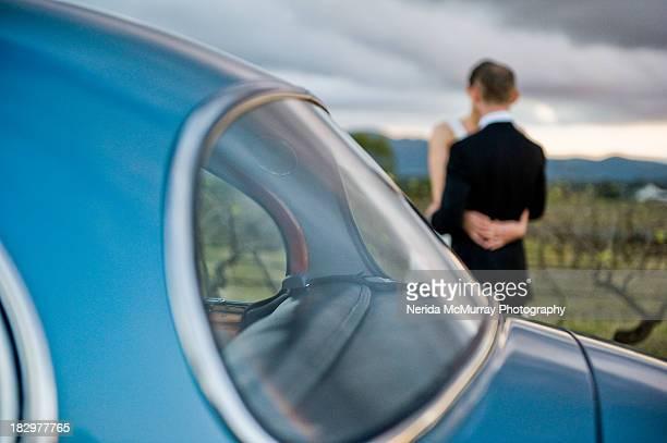 Bride & Groom vintage car