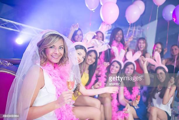 bride having fun on her bachelorette party - addio al nubilato foto e immagini stock