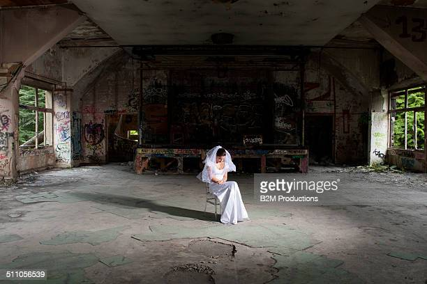 Bride in old house