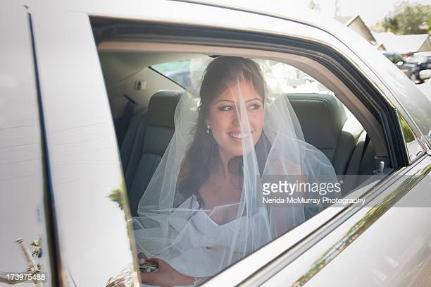 bride in wedding car - lebanese ethnicity stock photos and pictures