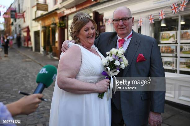 Bride Karen Lewis soon to be Mrs Palmer prepares to get married ahead of the royal wedding of Prince Harry and Meghan Markle on May 18 2018 in...