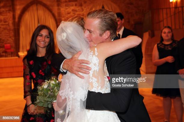Bride Katja Ohneck and Daniel Roesner during the church wedding of Erdogan Atalay and Katja Ohneck at Heidelberg Castle on September 30 2017 in...