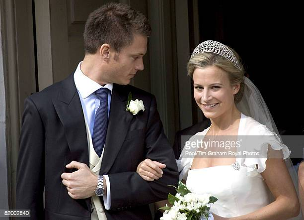 Bride Lady Rose Windsor and her groom George Gilman leave after their wedding at the Queen's Chapel near St James's Palace on July 19 2008 in London...
