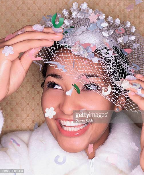 bride laughing - fascinator stock pictures, royalty-free photos & images