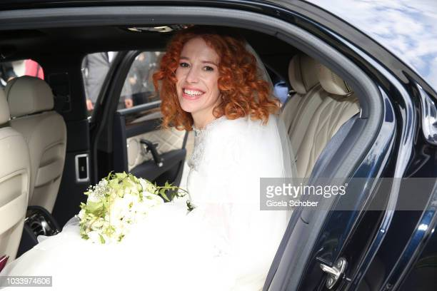 Bride Laura Kaefer after the church wedding of Ralph Siegel and Laura Kaefer at the protestant church Thomaskirche Gruenwald on September 15 2018 in...