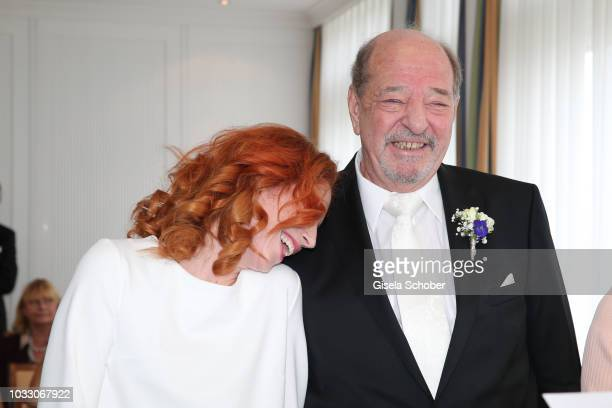 Bride Laura Kaefer and bridegroom Ralph Siegel during their civil wedding at the registry office Gruenwald on September 14 2018 in Munich Germany