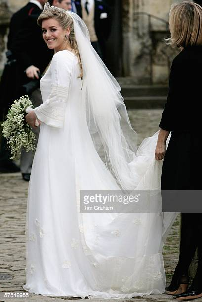 Bride Laura ParkerBowles arrives for her wedding ceremony at St Cyriac's Church Lacock on May 6 2006 in Wiltshire England