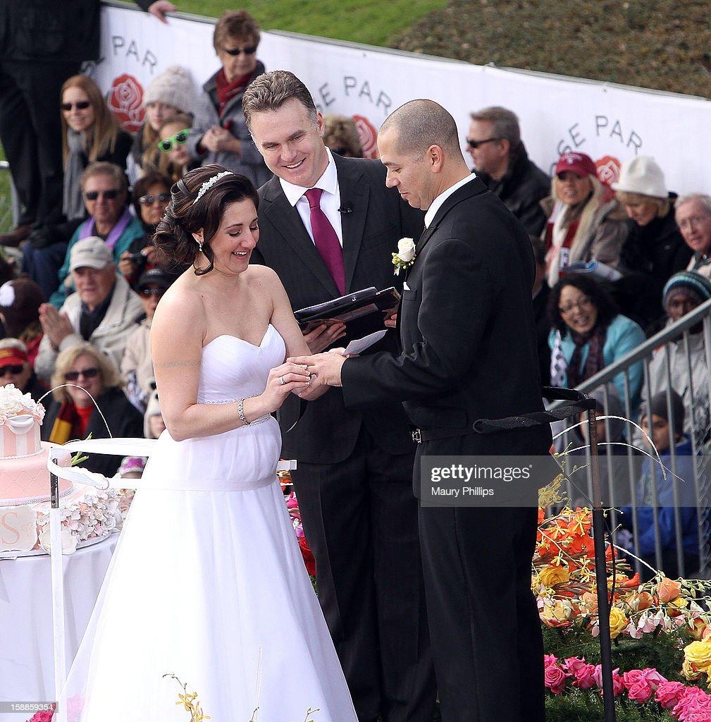 L R) Bride Nicole Angellilo, Officiant DJ Valentine And Groom Gerald  Sapienza During Their Live