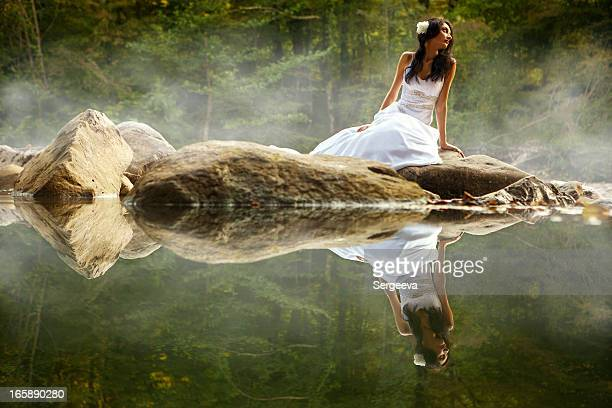 Bride on an island in the water