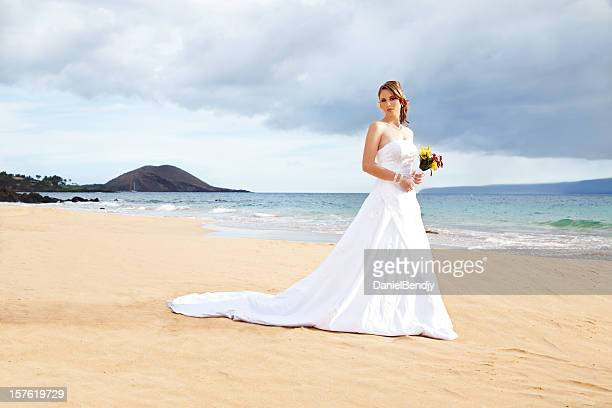 bride on beach - strapless stock photos and pictures