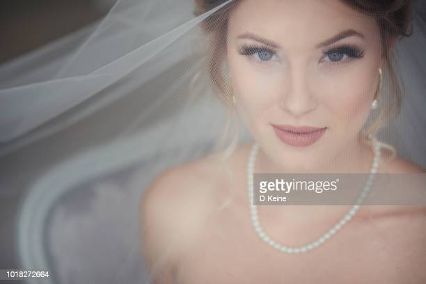 bride - wedding veil stock photos and pictures