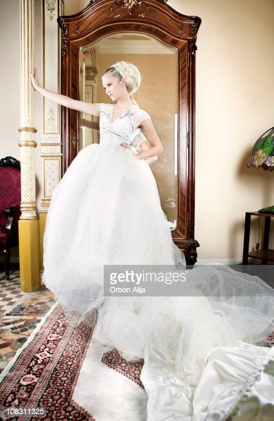 bride - full length mirror stock photos and pictures