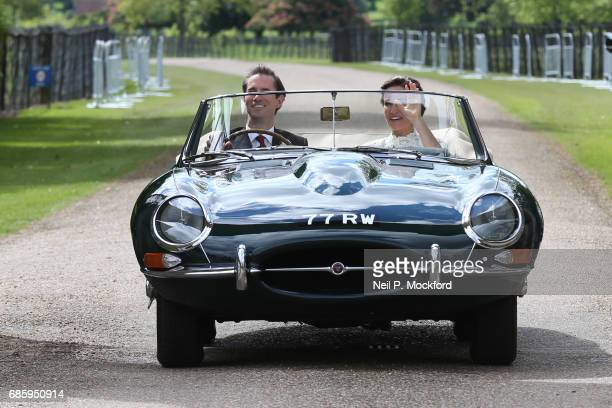 Bride Pippa Middleton and her new husband James Matthews seen leaving St Mark's Church in a classic car after their Wedding Ceremony on May 20, 2017...