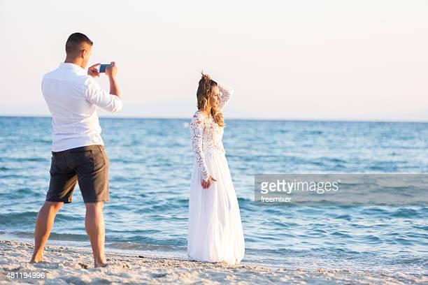 Bride posing for her groom
