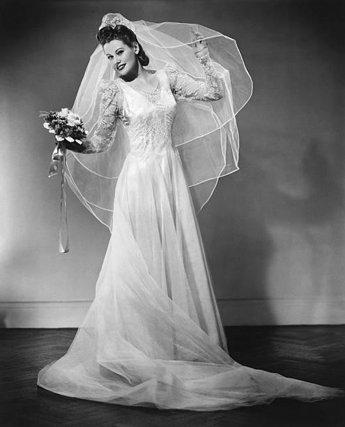 Bride Posing In Studio B W Portrait