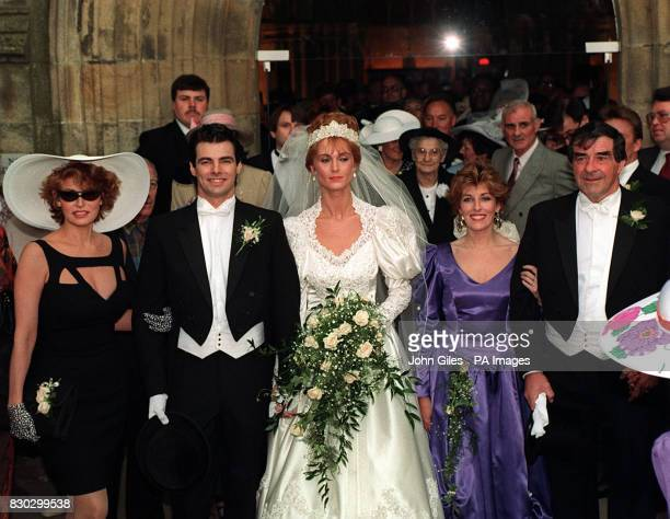 Bride Rebecca Trueman with her husband Damon his mother Raquel Welch the bride's father Fred Truman and sister Karen at Bolton Abbey *According to a...