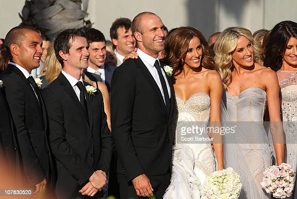 Bride Rebecca Twigley And Groom Chris Judd Pose After The Wedding Of Afl Player