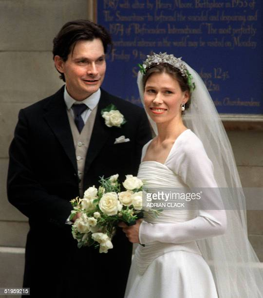Bride Sarah ArmstrongJones daughter of Britain's Princess Margaret and Lord Snowdon with her groom Daniel Chatto after their wedding at St Stephen...