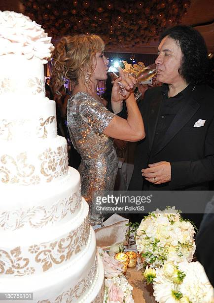 Bride Shannon Tweed and Groom Gene Simmons attend their wedding held at the Beverly Hills Hotel on October 1 2011 in Los Angeles California