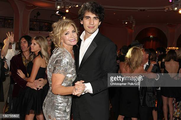 Bride Shannon Tweed and Son Nick Tweed Simmons attend the wedding of Gene Simmons and Shannon Tweed at the Beverly Hills Hotel on October 1 2011 in...