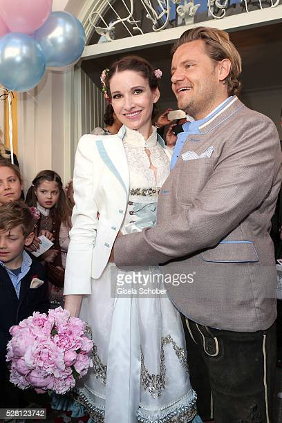 Bride Sophie Wepper and her husband Bridegroom David Meister during the wedding of Sophie Wepper and David Meister outside the registry office at...