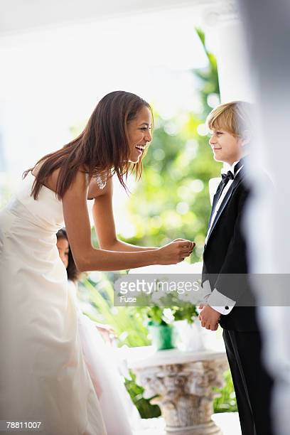 Bride Talking to Ring Bearer