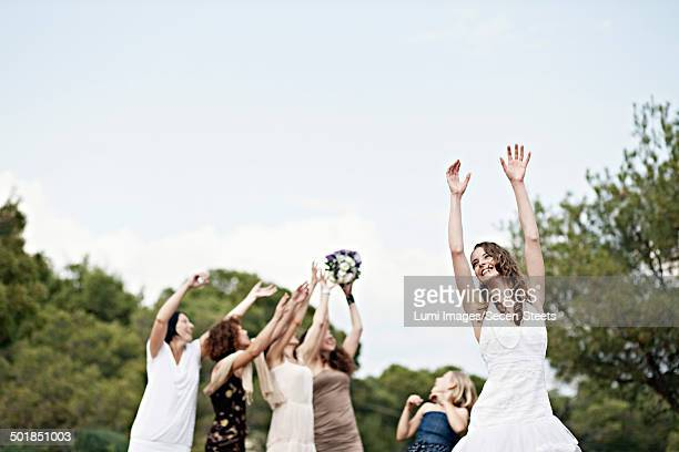 Bride Throwing Bridal Bouquet, Croatia, Europe