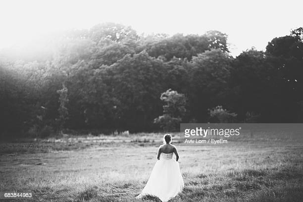 Bride Walking Through A Field