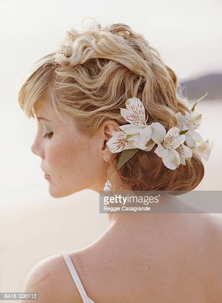 Bride Wearing Flowers in Hair