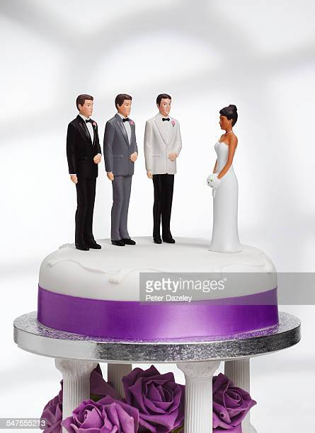bride with excess choice - bigamy stock pictures, royalty-free photos & images