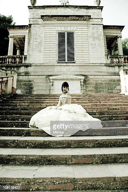 Bride Woman Sitting on Stairs
