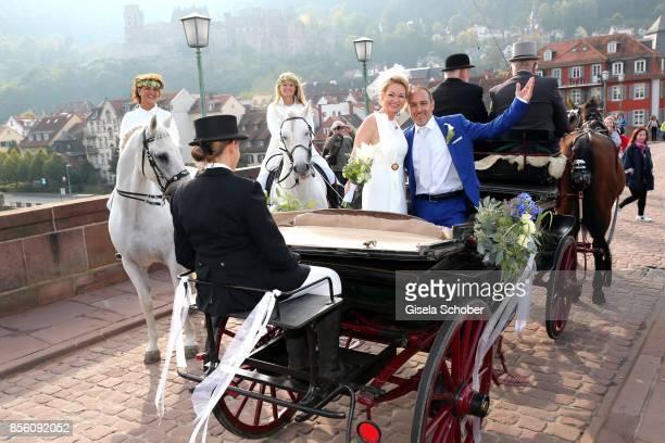 Bridegroom Erdogan Atalay and his fiance bride Katja Ohneck during their civil wedding on September 28 2017 in Heidelberg Germany