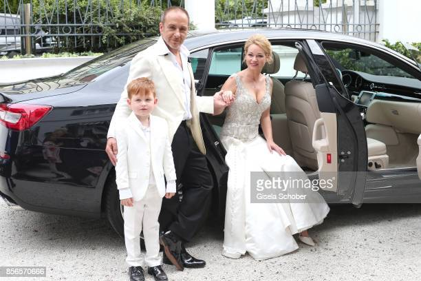 Bridegroom Erdogan Atalay and his wife Katja Ohneck with son Maris Atalay during their church wedding at Heidelberg Castle on September 30 2017 in...