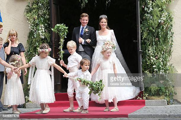 Bridegroom FranzAlbrecht zu OettingenSpielberg and his wife Cleopatra zu OettingenSpielberg leave the church after the wedding of hereditary Prince...