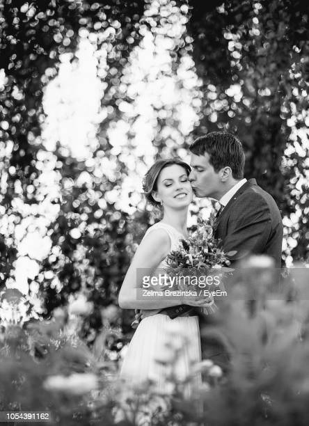bridegroom kissing bride at park - marriage stock pictures, royalty-free photos & images