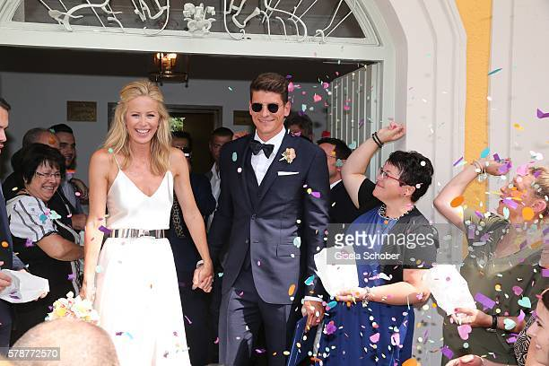 Bridegroom Mario Gomez and his wife Carina Wanzung during the wedding of Mario Gomez and Carina Wanzung at registry office Mandlstrasse on July 22 on...