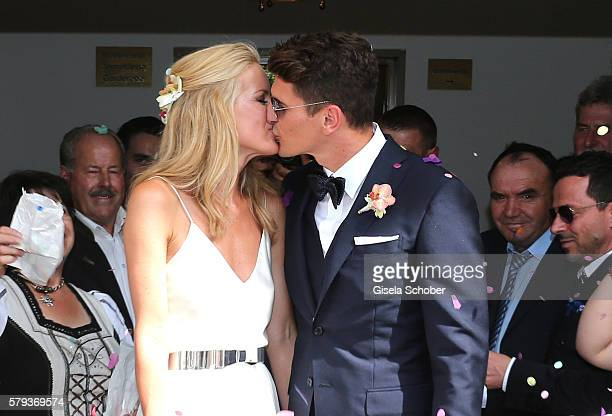 Bridegroom Mario Gomez and his wife Carina Wanzung during the wedding of Mario Gomez and Carina Wanzung on July 22 2016 in Munich Germany