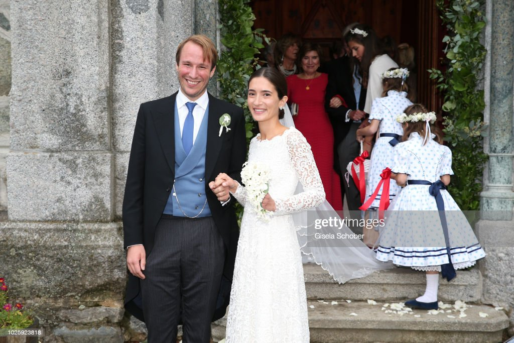 Bridegroom Prince Konstantin of Bavaria and his wife, Bride Princess Deniz of Bavaria born Kaya leave their wedding at the french church 'Eglise au Bois' on September 1, 2018 in St Moritz, Switzerland.