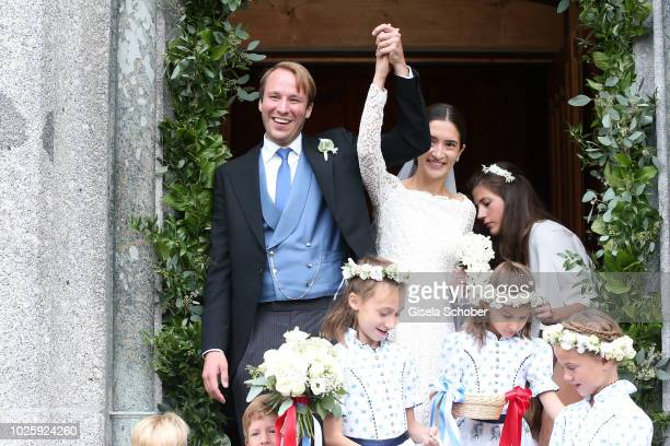 Bridegroom Prince Konstantin of Bavaria and his wife Bride Princess Deniz of Bavaria born Kaya leave their wedding at the french church 'Eglise au...