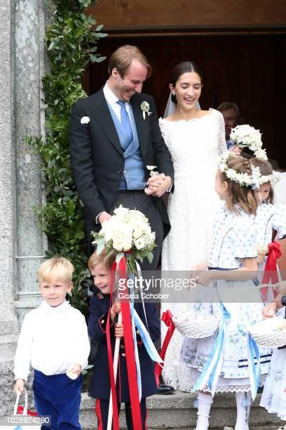 Bridegroom Prince Konstantin of Bavaria and his wife Bride Princess Deniz of Bavaria born Kaya leave their wedding at the french church 'Eglise au...