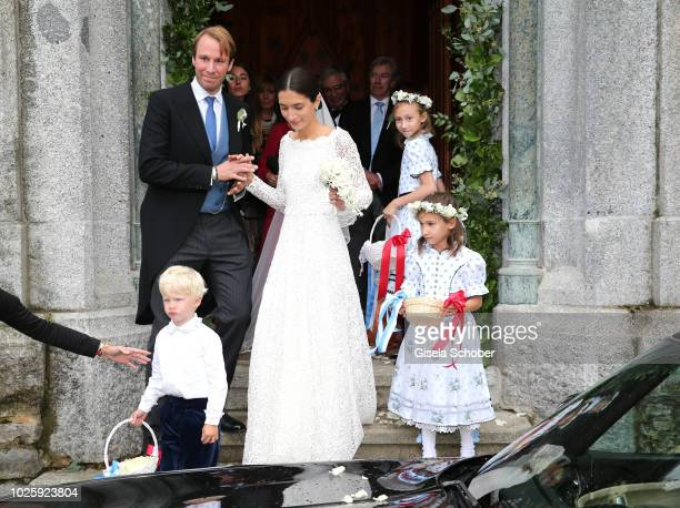 Bridegroom Prince Konstantin of Bavaria and his wife Princess Deniz of Bavaria born Kaya leave the wedding at the french church 'Eglise au Bois' on...