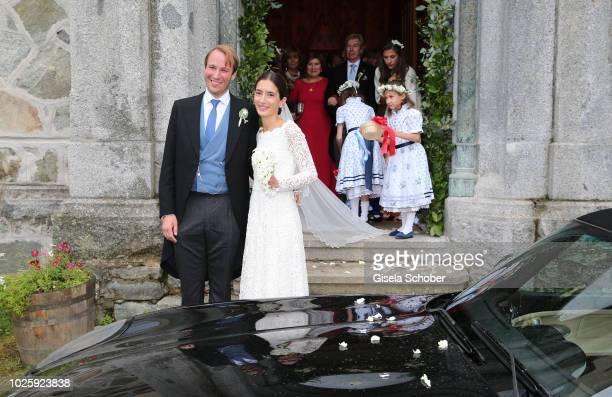 Bridegroom Prince Konstantin of Bavaria and his wife Princess Deniz of Bavaria, born Kaya leave the wedding at the french church 'Eglise au Bois' on...