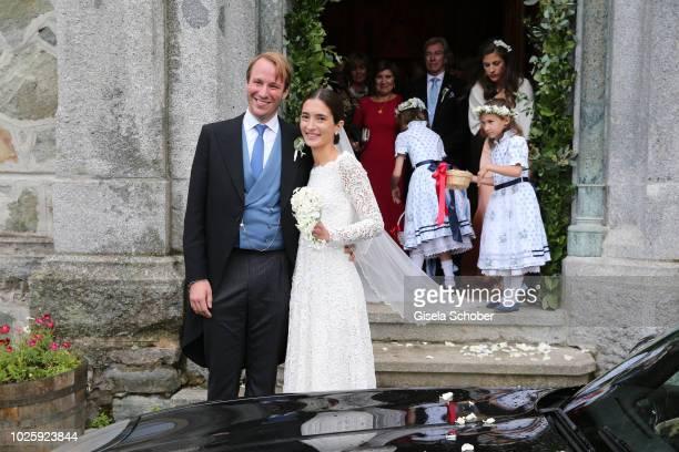 Bridegroom Prince Konstantin of Bavaria and his wife Princess Deniz of Bavaria born Kaya leave the wedding at the french church 'Eglise au Bois' on...